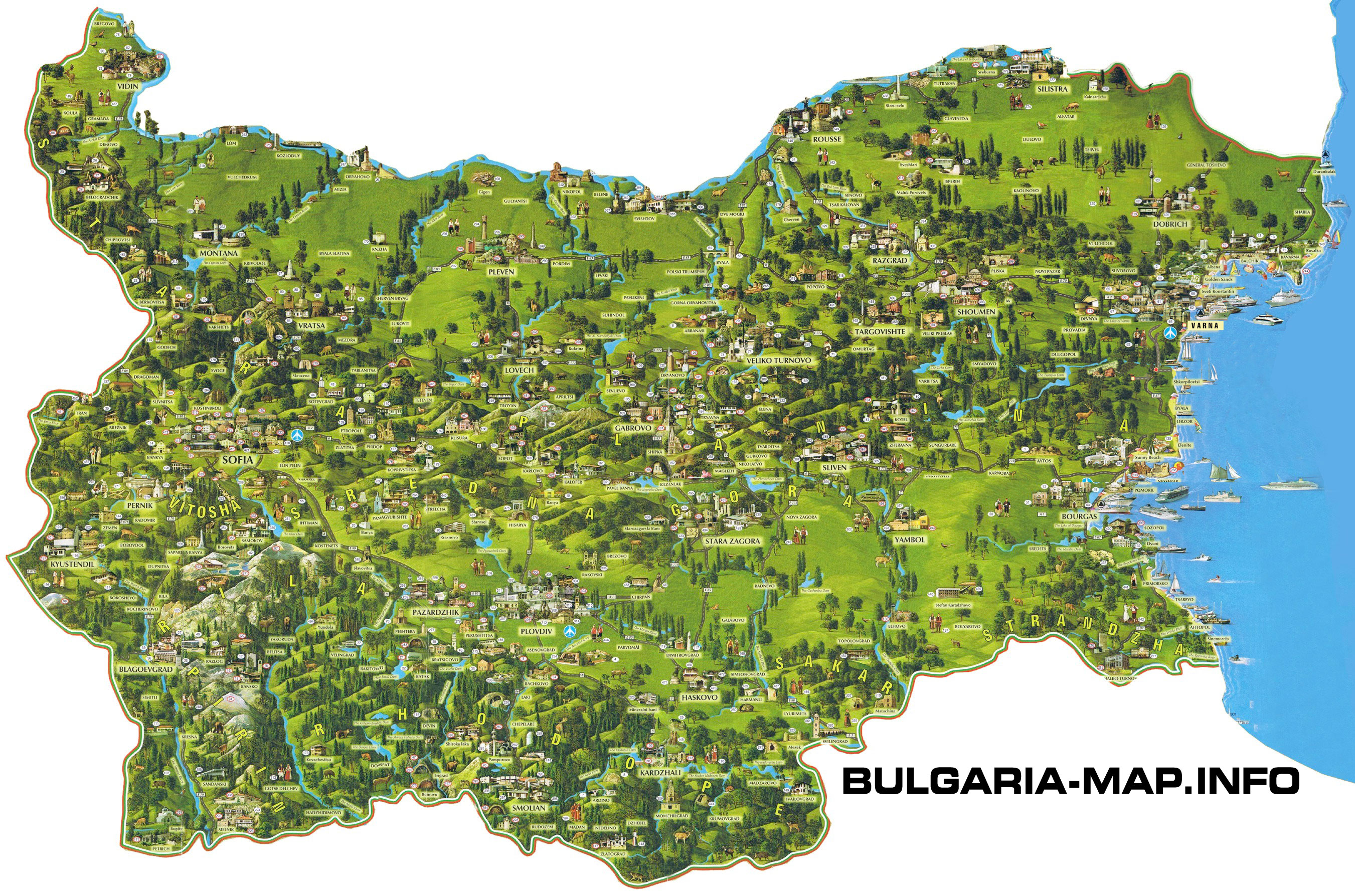 Bulgaria Online Maps Geographical Political Road Railway